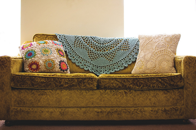 My doily is made of thread, and wouldn't really work on a couch. And it's not this big!